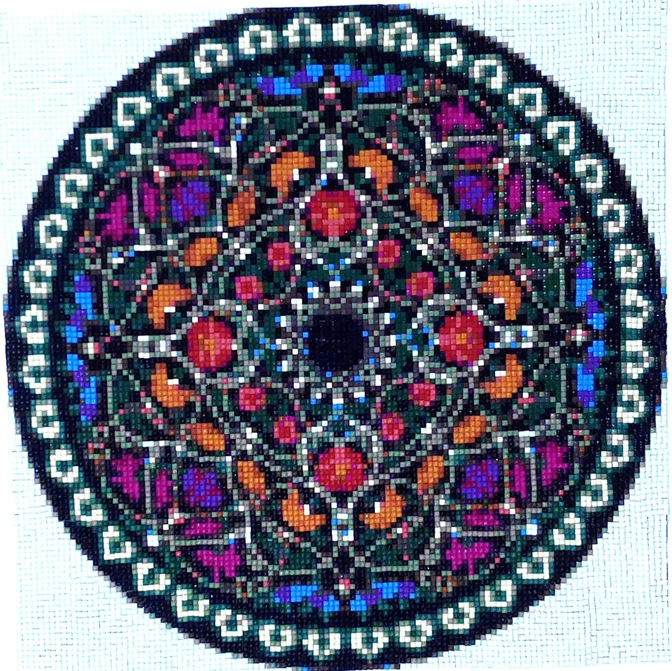 Kit de punto de cruz diamante, MANDALA n.2, 30X40 CM.