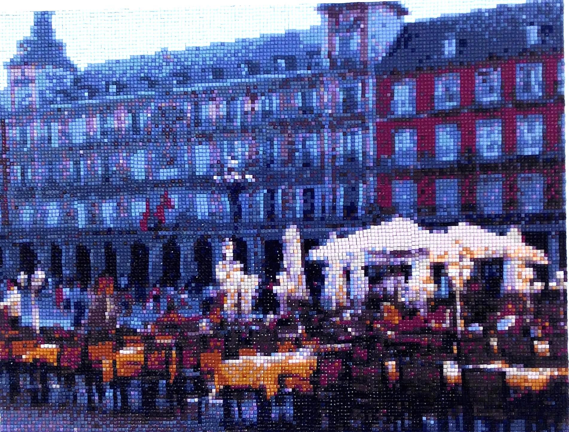 Kit de punto de cruz diamante, PLAZA MAYOR, 30X40 CM.